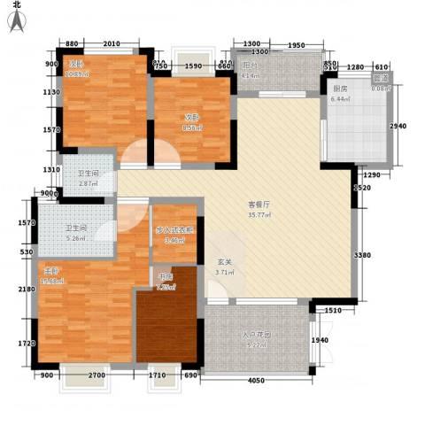 康乐幼儿园职工宿舍4室1厅2卫1厨157.00㎡户型图