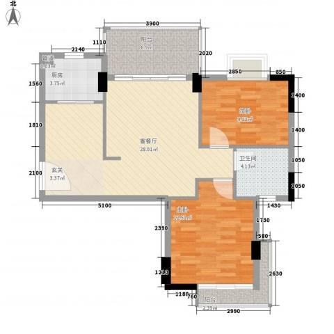 富盈山水华府2室1厅1卫1厨128.00㎡户型图