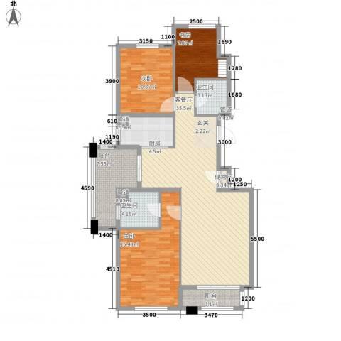 保利花园三期双河城3室1厅2卫1厨116.00㎡户型图