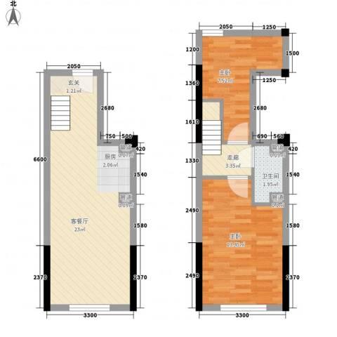 筑石快乐公馆2室1厅1卫0厨49.61㎡户型图