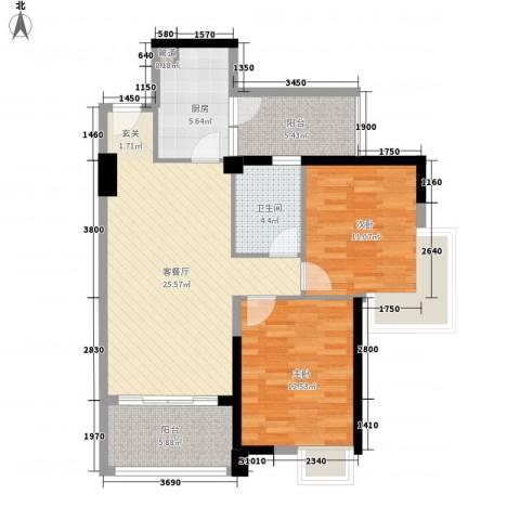 碧桂园凤凰城凤天苑2室1厅1卫1厨101.00㎡户型图