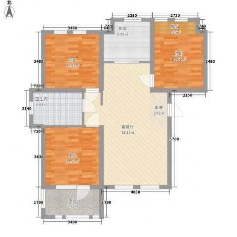 兰亭苑3室1厅1卫1厨111.00㎡户型图