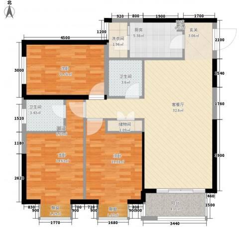宏府�翔九天3室1厅2卫1厨103.49㎡户型图