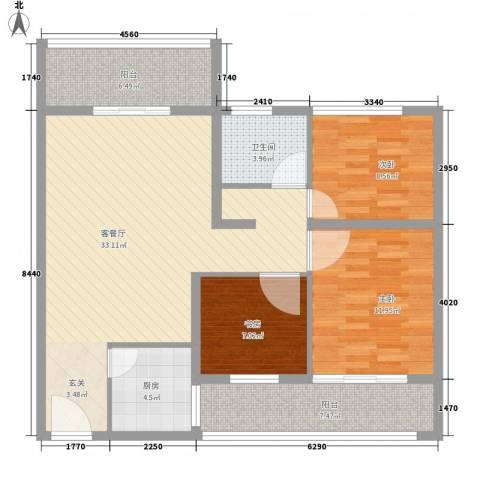 紫荆苑3室1厅1卫1厨119.00㎡户型图