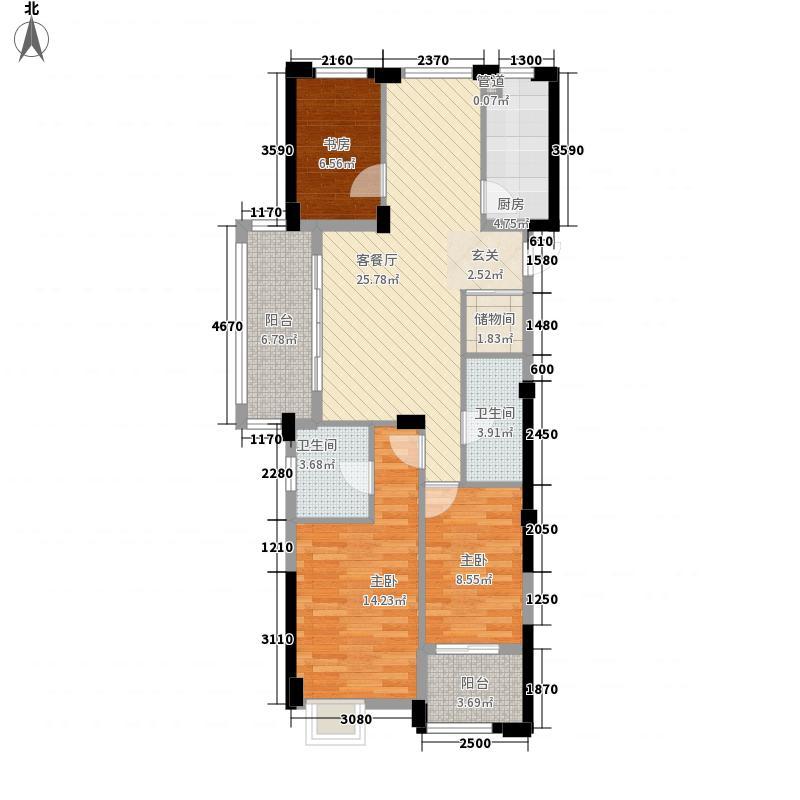西墅绿洲115.00㎡D户型3室2厅2卫1厨