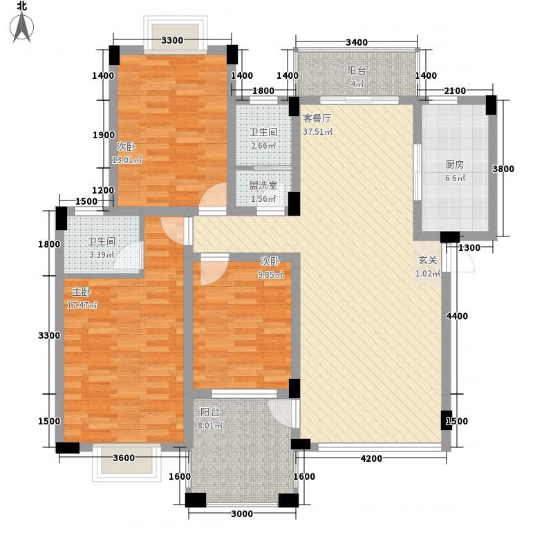 会昌财富广场131.00㎡e户型3室2厅2卫1厨