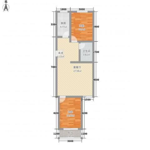 逸宸新境界2室1厅1卫1厨88.00㎡户型图
