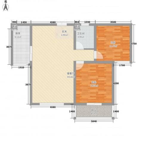和信花园2室1厅1卫1厨107.00㎡户型图