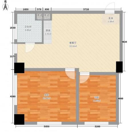 第九街区2室1厅1卫0厨96.00㎡户型图