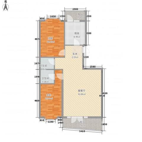 铭钻家园2室1厅2卫1厨99.50㎡户型图