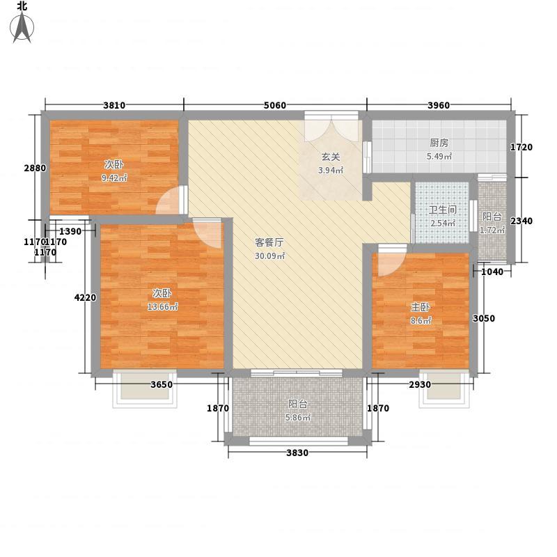 时代茗苑2#楼中间户B2户型