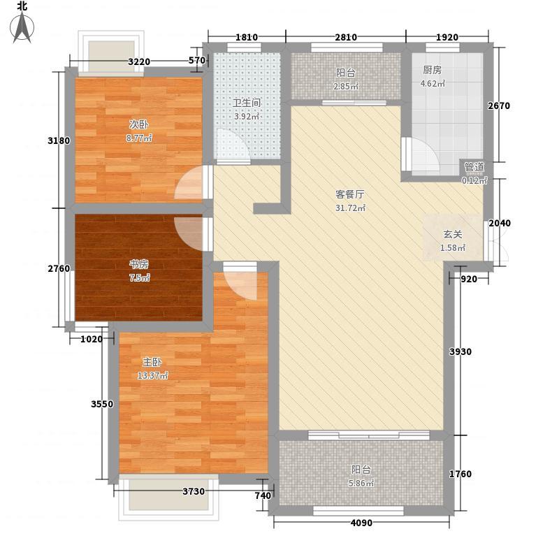 城东一号114.00㎡一期3#标准层C户型3室2厅1卫1厨