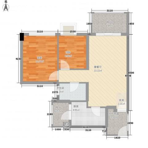 兴隆华庭2室1厅1卫1厨85.00㎡户型图