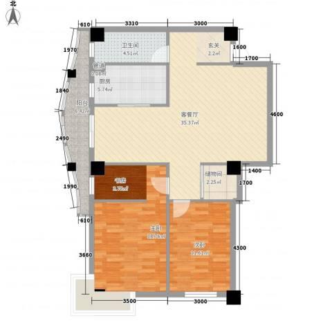 丹青花园2室1厅1卫1厨110.00㎡户型图