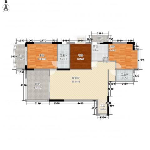 康盛华庭3室1厅2卫1厨131.00㎡户型图