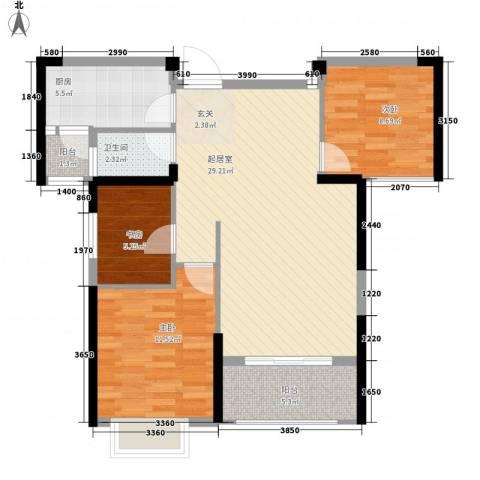 九江曼城3室0厅1卫1厨98.00㎡户型图