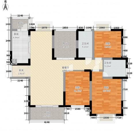 莲花苑二期3室1厅2卫1厨156.00㎡户型图
