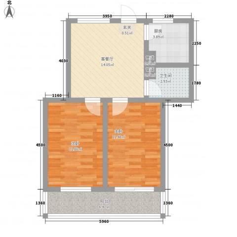 金润花园2室1厅1卫1厨75.00㎡户型图