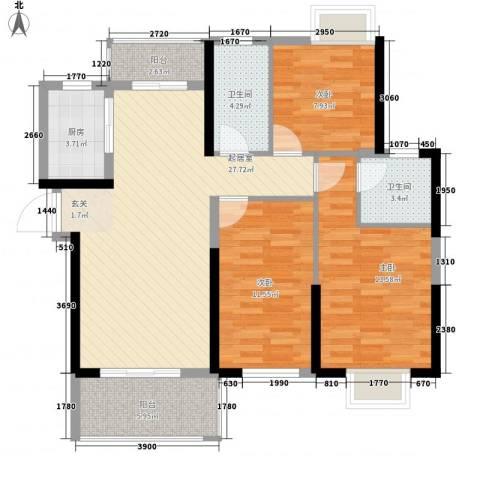 九江曼城3室0厅2卫1厨115.00㎡户型图