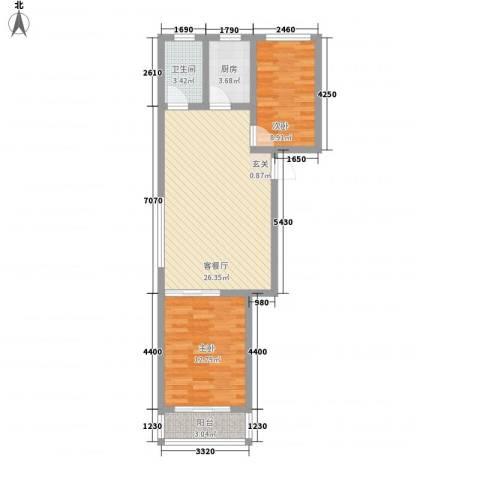 金润花园2室1厅1卫1厨84.00㎡户型图