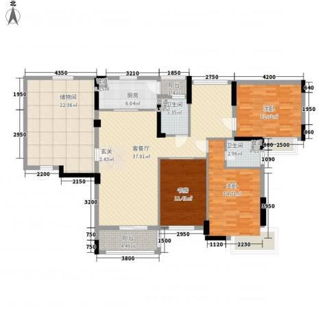 富恒浅水湾3室1厅2卫1厨158.00㎡户型图