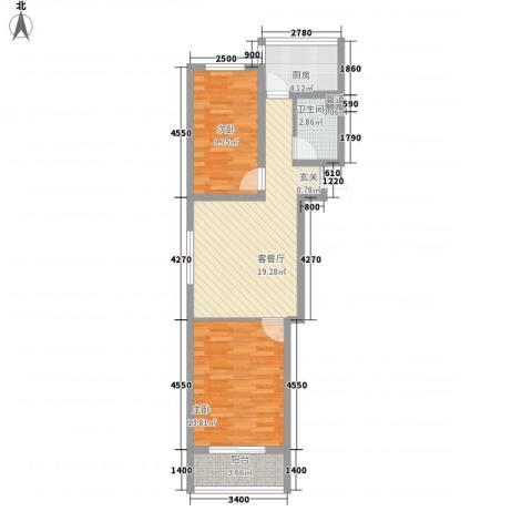 金润花园2室1厅1卫1厨78.00㎡户型图