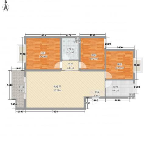 腾骐骏安3室1厅1卫1厨115.00㎡户型图