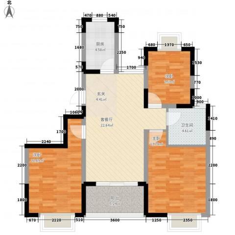 丹青花园3室1厅1卫1厨103.00㎡户型图