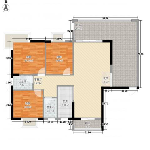 中兴苑3室1厅2卫1厨151.00㎡户型图