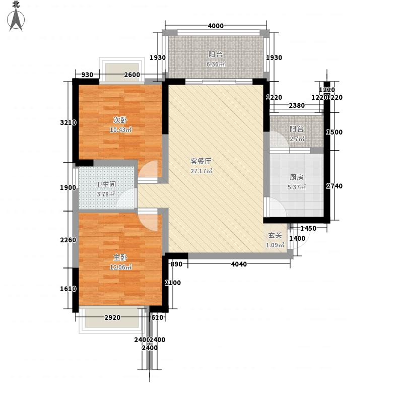 齐力碧水湾88.00㎡齐力碧水湾户型图A1型2室2厅1卫1厨户型2室2厅1卫1厨