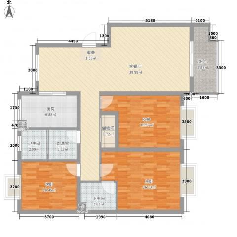 腾骐骏安3室1厅2卫1厨133.00㎡户型图
