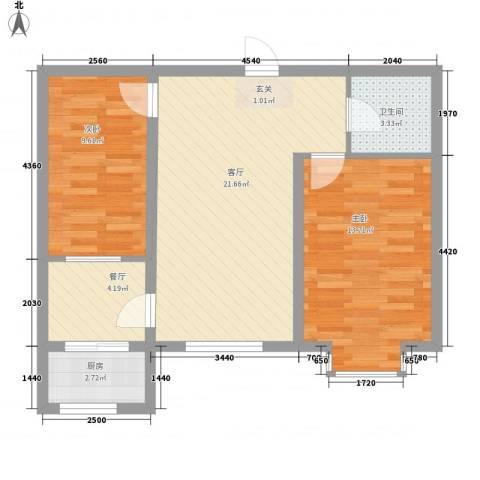 美地家园2室2厅1卫1厨77.00㎡户型图