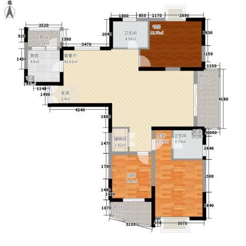 信政天鹅湾3室1厅2卫1厨139.00㎡户型图