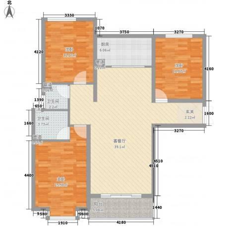 凯隆御景3室1厅2卫1厨136.00㎡户型图