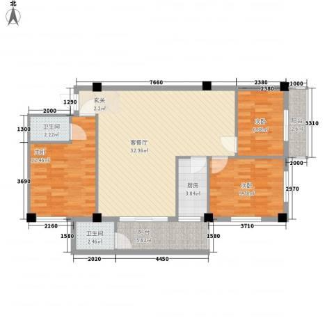 荣明花园3室1厅2卫1厨78.43㎡户型图