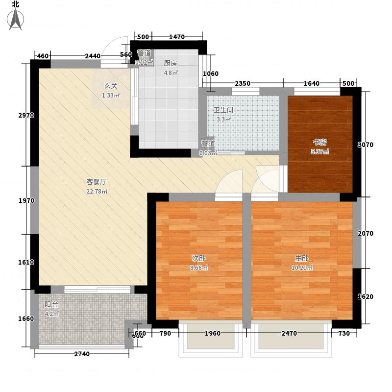 信地潜龙湾87.18㎡B1-B户型3室2厅1卫1厨
