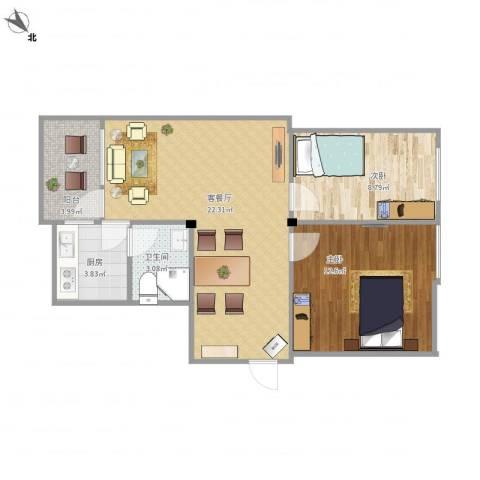昌盛小区2室1厅1卫1厨74.00㎡户型图
