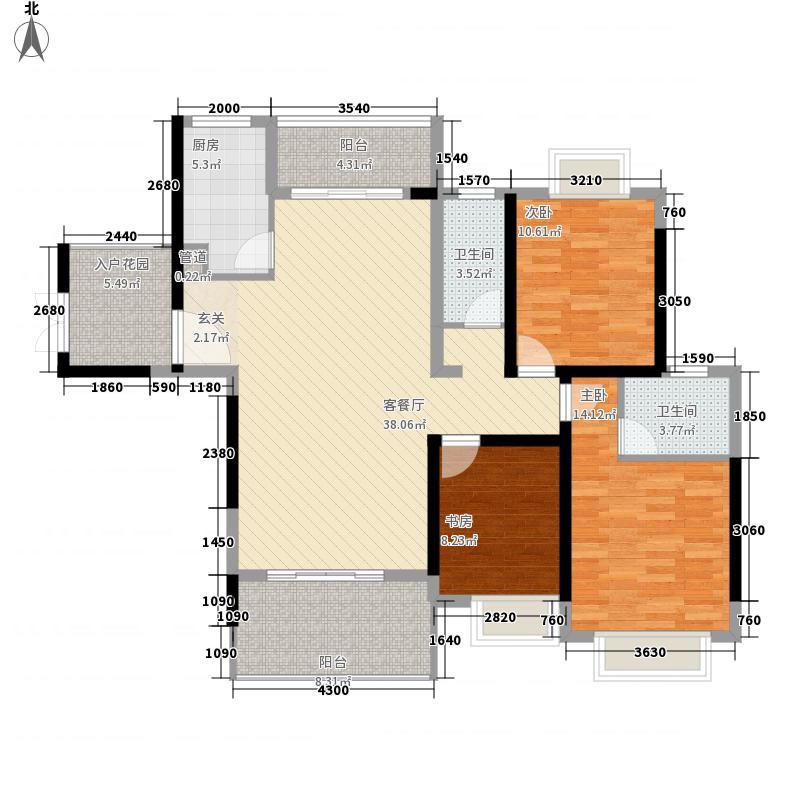 大华御景天下12.13㎡1、2#楼C2户型3室2厅2卫1厨