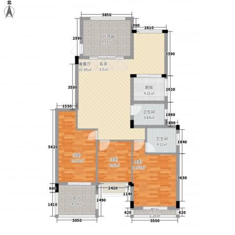 钱隆汇3室1厅2卫1厨139.00㎡户型图