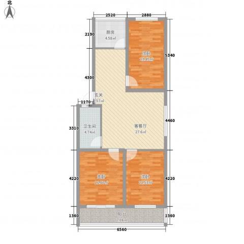 金润花园3室1厅1卫1厨117.00㎡户型图