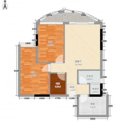 逸景翠园碧莲居3室1厅1卫1厨78.00㎡户型图