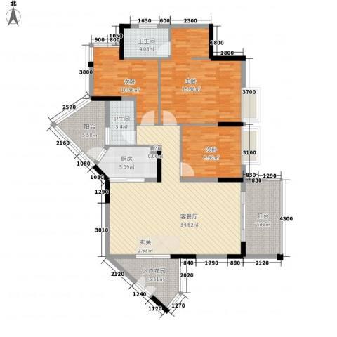 恒捷・逸林首府3室1厅2卫1厨150.00㎡户型图