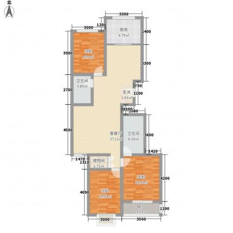 逸宸新境界3室1厅2卫1厨135.00㎡户型图