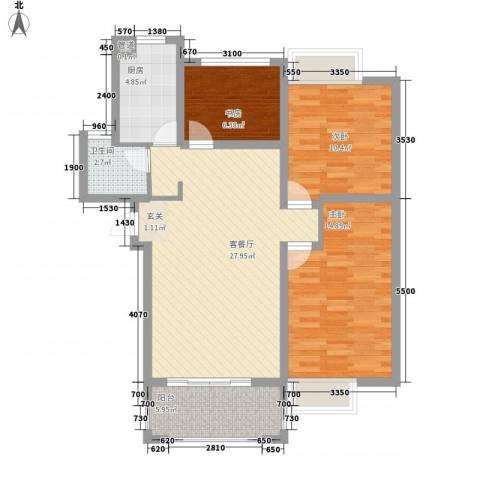 盛世名门3室1厅1卫1厨84.00㎡户型图