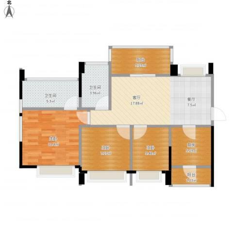 中熙松湖国际3室1厅2卫1厨90.00㎡户型图