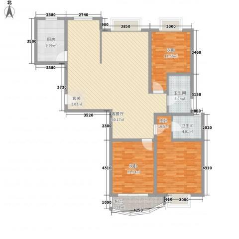 滨河家园3室1厅2卫1厨158.00㎡户型图