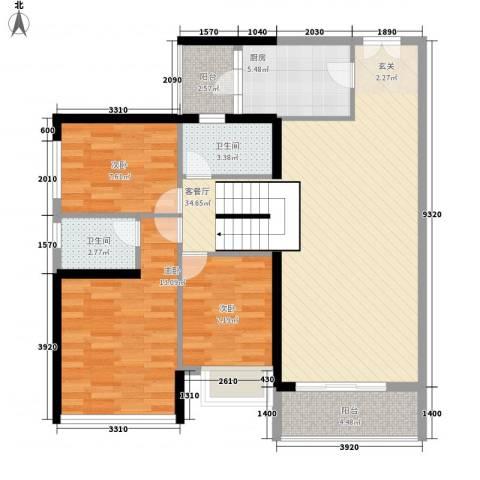 金宇名都3室1厅2卫1厨115.00㎡户型图