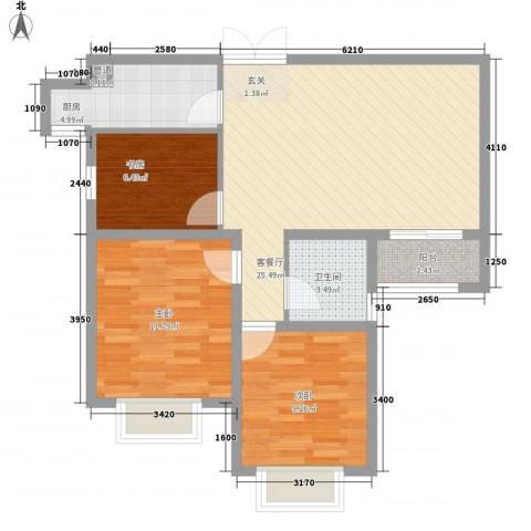 盛世名门3室1厅1卫1厨73.60㎡户型图