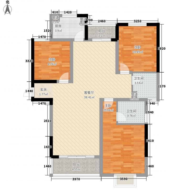 金地国际商住楼131.50㎡一期I户型3室2厅2卫1厨