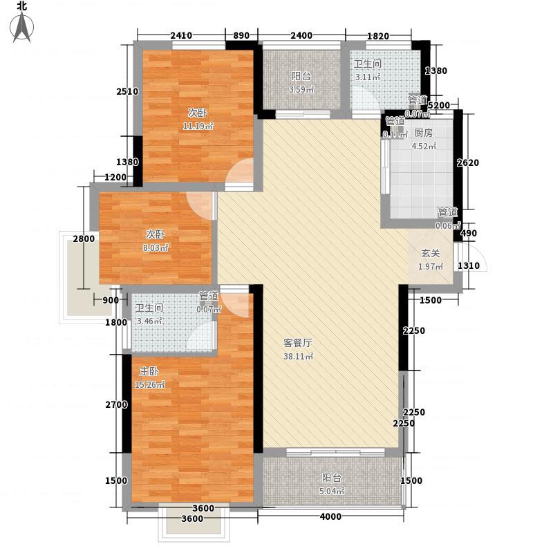 金地国际商住楼131.80㎡一期G户型3室2厅2卫1厨